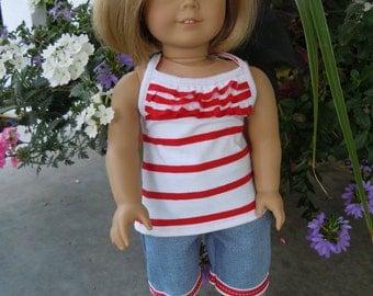 American girl doll ruffled tank top and capri pants