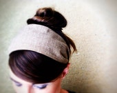 Organic Cotton Neutral Brown Fabric Headband Hair Band Structured Stay Put Wide  Womens Hairband Hair Accessory - jerseymaid