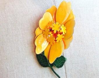 vintage hippie boho enamel yellow flower brooch pin, fall brooch, fall pin, fall jewelry