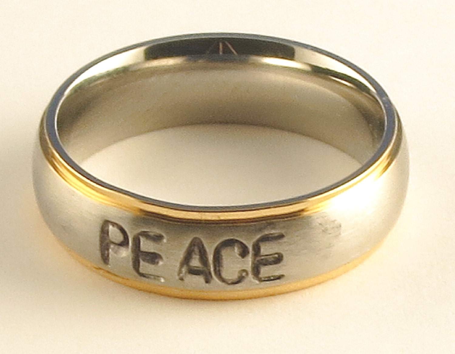 PEACE Stainless Steel Gold Tone Edge Comfort Fit Name Ring 6mm