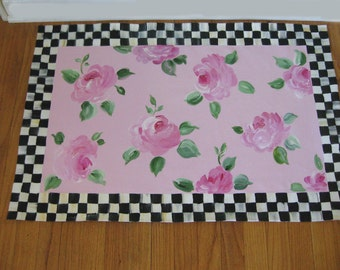 Cabbage Roses Floor Cloth