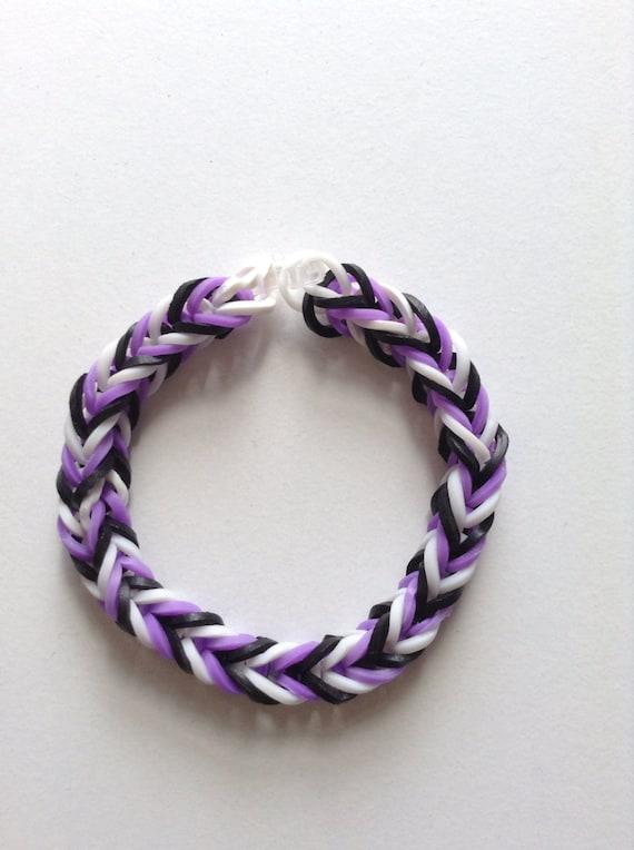 purple white and black fishtail rubber band bracelet