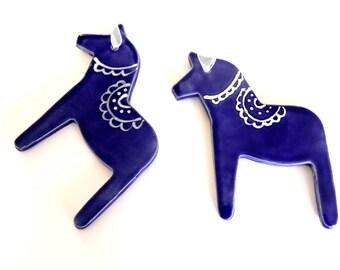 Blue Horses Ceramic Decoration Set of 2 Gift Pottery Ornament Dala Horse Inspired