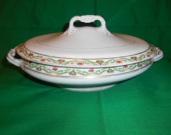"One (1), 11 1/2"" Oval Vegetable Bowl, with Lid, by John Maddock & Sons, in the MAD 128 Pattern."