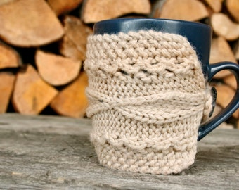 coffee cup cozy, beige mug cozy, coffee sleeve, READY TO SHIP