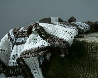Womens fashion clothing, edgy knit triangle shawl, linen scarf