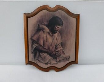 The Carpenter, Vintage Religious Plaque, Wall Hanging, Religious Wall Art, Vintage Plaque, Home and Living