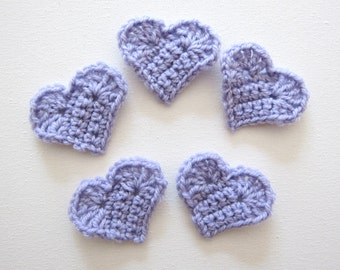 "1pc  2"" Crochet LILAC HEART Applique"
