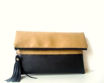 Clutch Purse, Fold over, Leather clutch, Tan, Beige, Black