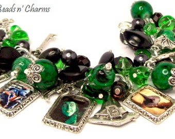 Wicked Witch Charm Bracelet,  Silver Plated Charm Bracelet, Halloween Charm Bracelet