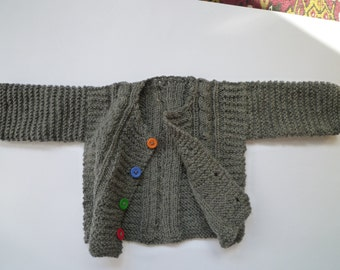 Unique baby gift,knit baby sweater,baby cardigan,grey baby sweater, Free Shipping