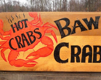 """Baltimore Crab House Sign Hand painted  """"faux"""" vintage FS CB2"""