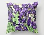Purple Iris flowers Photo throw Pillow Cover