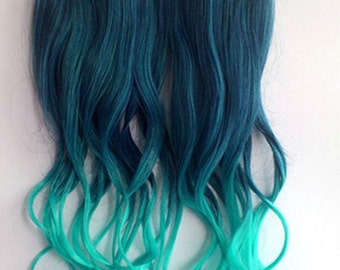 Teal Ombre Clip In Extensions
