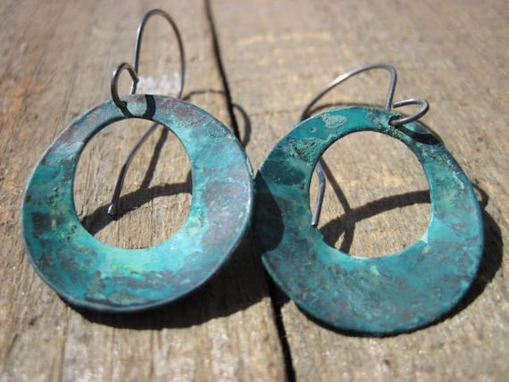 Aqua Hoop Earrings- Copper and Silver Earrings