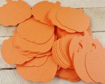 25 Orange Pumpkin Die Cuts Halloween Fall Embellishments Confetti Scrapbooking