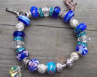 Blue Twilight Inspired European Charm Bracelet