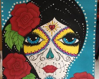Miss Rosas Dia de los Muertos Art
