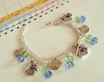 Silver Plated Little Birds in a Birdhouse Charm Bracelet Green and Blue Theme