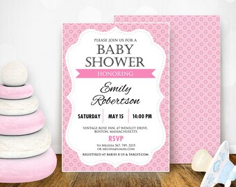 Printable Baby Girl Shower Invitation Pink 5 X 7 Editable PDF Retro Baby  Girl Shower Invite
