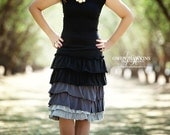 Womens ruffled knit skirt in black and grays.  Custom made in sizes XS to XL