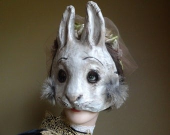 Paper animal masks Paper mache rabbit mask hare mask