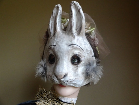 Paper animal masks paper mache rabbit mask hare mask for Making paper mache animals