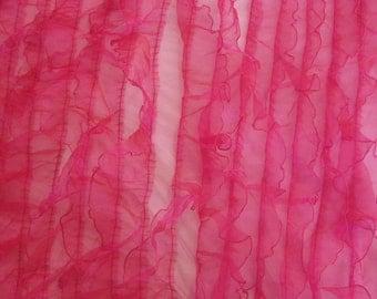 Fuchsia Ruffles on Mesh Organza 54 Inch Wide Fabric By The Yard