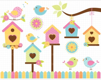 Clipart - Spring Birds / Bird House / Garden - Digital Clip Art (Instant Download)