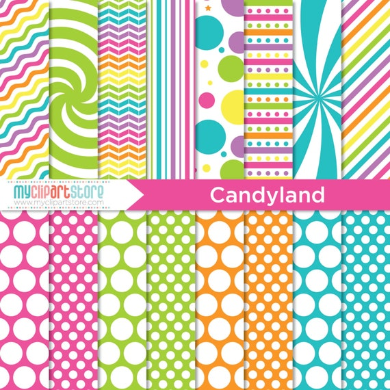 Digital Paper Candyland Rainbow Colored Paper Swirls