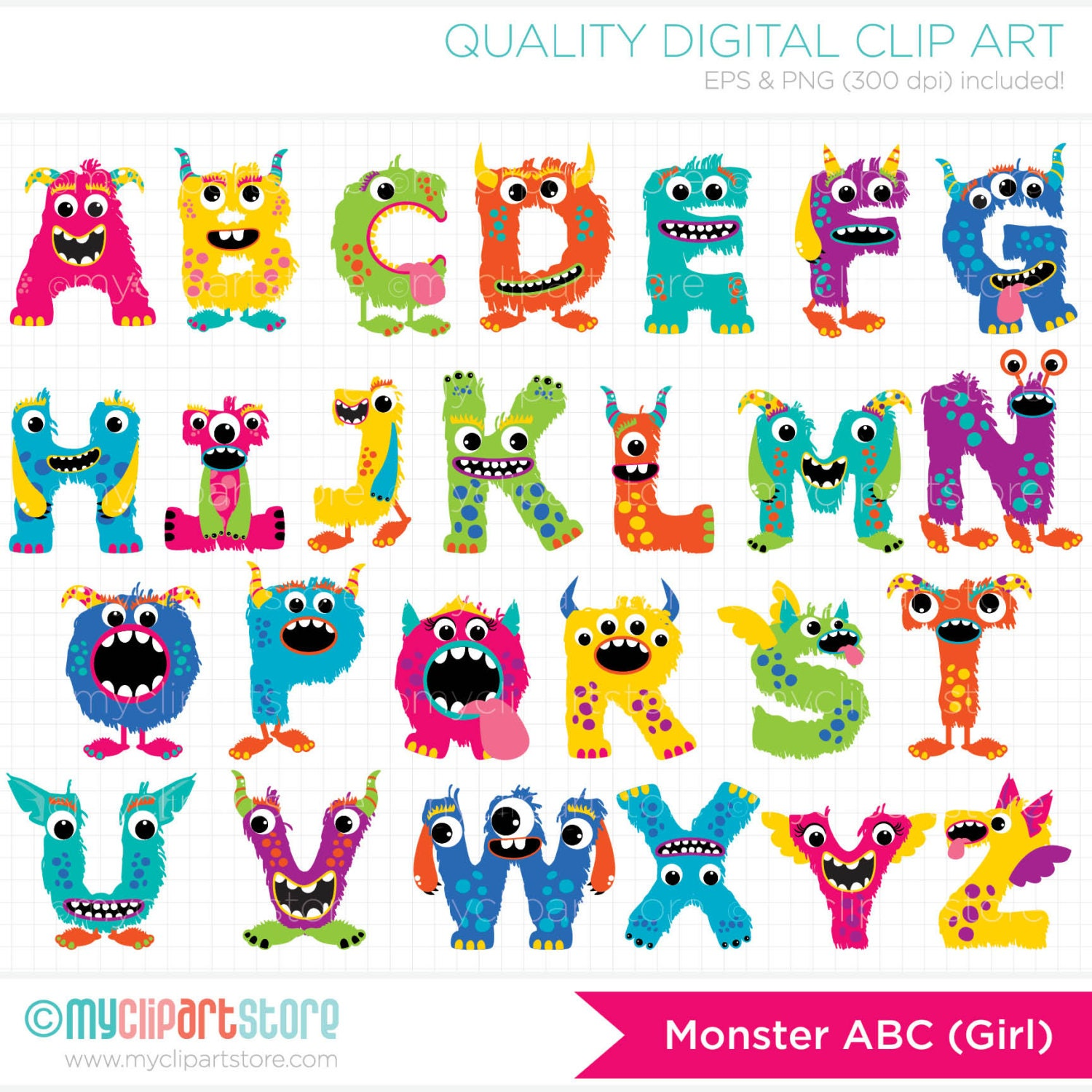 Clip Art Alphabet Clipart alpha monster abc girl alphabet clipart by myclipartstore