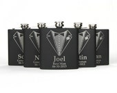Personalized Groomsmen Gift, 5 Engraved Flasks, Groomsmen Flasks