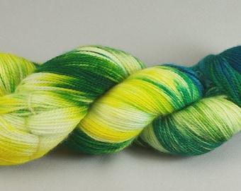 Yarn Hand Dyed Merino Wool Superwash Yellow Green Teal 2418