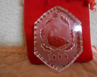 1989 Waterford Crystal Glass / Christmas Tree hanging / Mint Condition