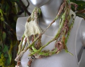 "Handspun Felted Scarf Fibre Art Necklace One of a Kind ""Lichen & Tendrils"""