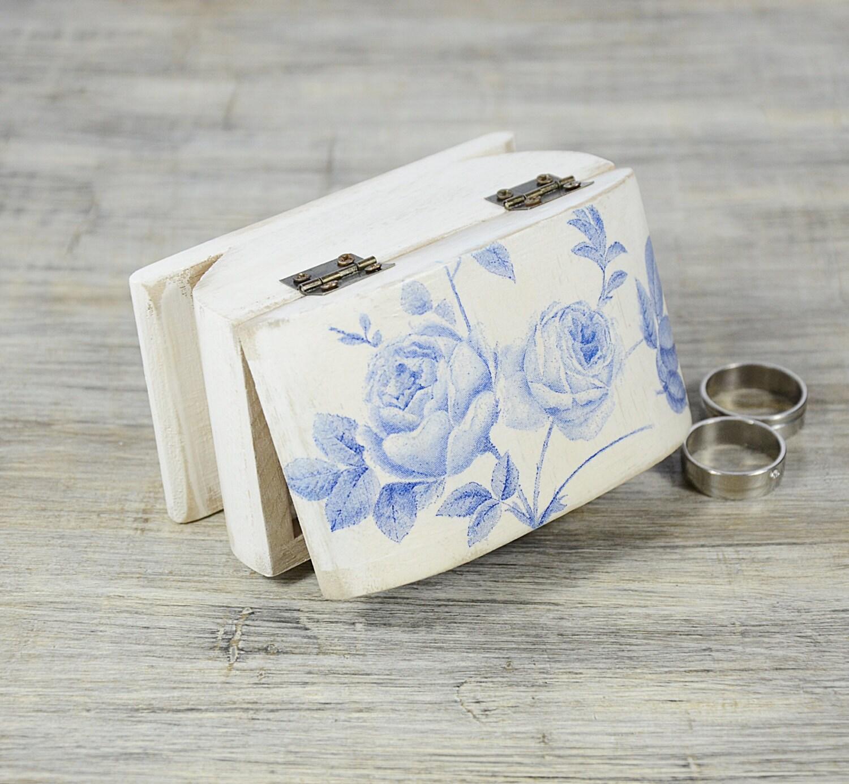 blaue rose ring bearer box wei blau hochzeit ring bearer. Black Bedroom Furniture Sets. Home Design Ideas
