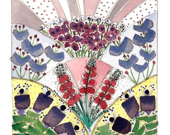 Flower Painting, Spring Flowers ,Flower Garden Art ,  Mixed Media Painting, Watercolor Original