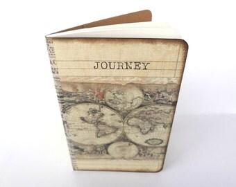 Travel Journal, World Map Journal, Travel Notebook, Journey, Old World Map, Wanderlust Journal, Travel Log Diary