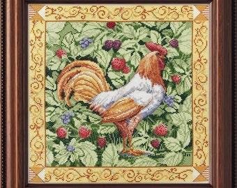 Berry Patch Rooster cross stitch kit NEW NIP Bucilla