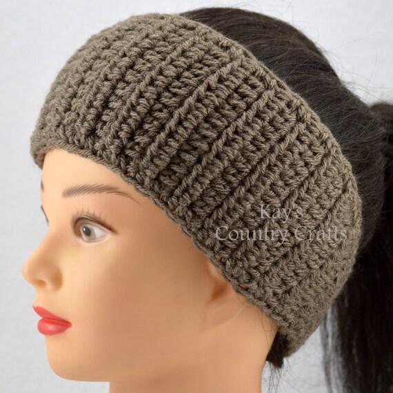 Free Patterns Crochet Head Warmers : Taupe Ear warmer Headband Head wrap Crochet by ...