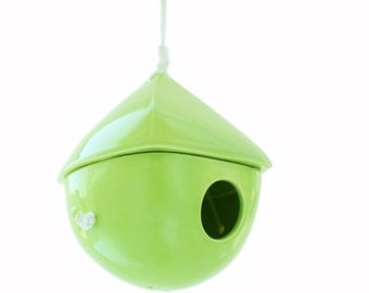 Lime Green Porcelain Birdhouse