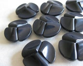 Navy Blue Buttons Plastic Vintage Eight