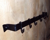 Hand Forged Wall Mounted Pot Rack with Hammered Finish
