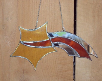 Shooting Star Stained Glass Suncatcher with Mirrored Accents