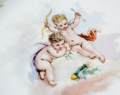 Antique Limoges Cherubs with Gold Salad Plate by Martial Rendon - Gaston Mark #2 c. 1891-1896
