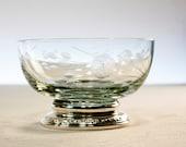 Vintage Rose Etched Glass Bowl with Sterling Silver Pedestal Base - Talisman Rose Frank M. Whiting