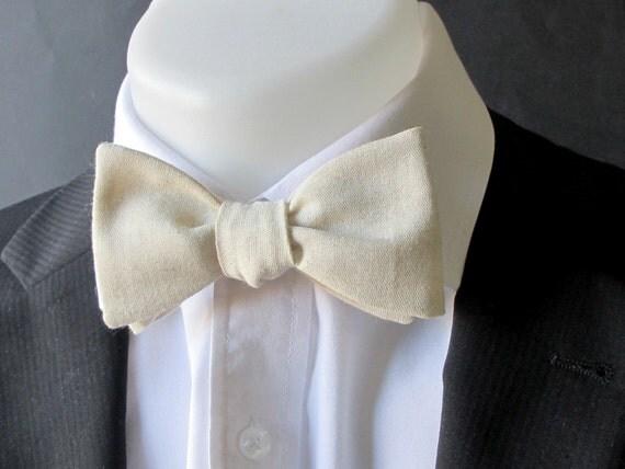 Mens bowtie - Natural  linen bowtie -  classic self tie /freestyle bowtie