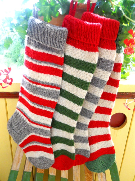Knit Pattern For Striped Christmas Stocking : Items similar to Christmas Stockings Personalized Wool Hand knit Striped stoc...
