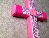 Pink and Purple Paisley Wooden Cross