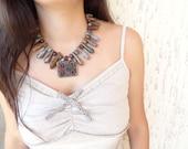 Vintage Afghan Silver Pendant Agate Necklace-Feminine, Handmade, OOAK, Christmas,